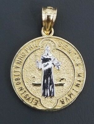 Real 14K Yellow White Gold Double Sided Jesus Cross Coin Medallion Pendant Charm 14k White Gold Coin