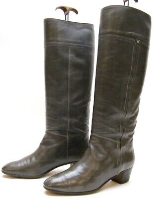 WOMENS VINTAGE GUCCI GG TALL KNEE HIGH GRAY GREY LEATHER BOOTS SZ 38 USA 8