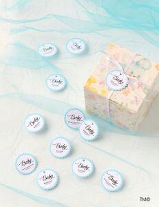 24-30-50-Etichette-Personalizzabili-Bordo-Azzurro-e-Testo-Battesimo-Tag-Nascita