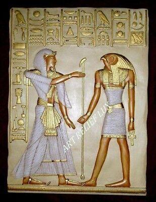 Ägyptisches Relief groß  Egypt Agypten Bild Horus Stuck gips Bas Relief Egipto