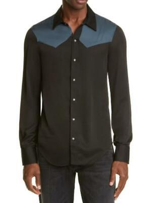 Billy Los Angeles Mens M Black Blue Western Pearl Snap-Front Shirt Button