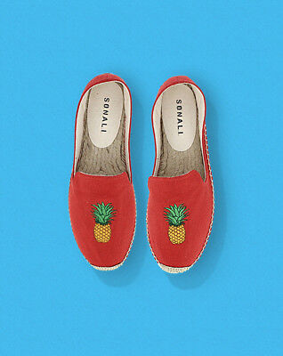 NEW Anthropologie Espadrille Shoes Pineapple Lana Embroidered Flats 38 EU 7 US