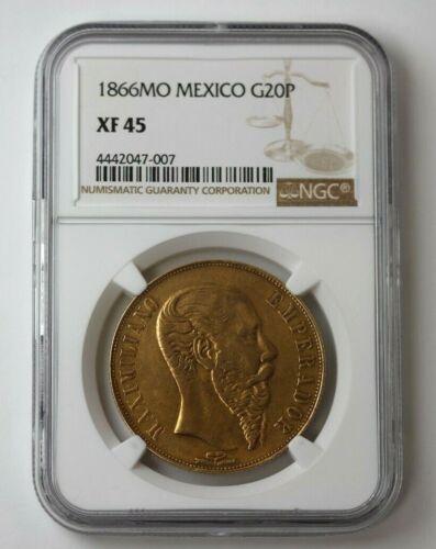 1866 Mo Mexico Gold 20 Pesos Maximilian NGC XF 45 #115285JR