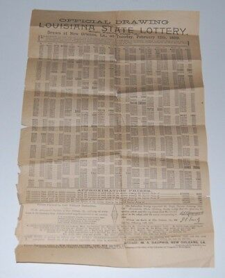 1889 Official Drawing Louisiana State Lottery Winners List   Confederate General