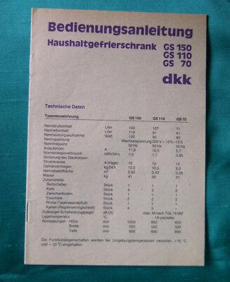 DDR-Bedienungsanleitung Haushaltgefrierschrank GS 150, GS 110, GS 70 - Original!