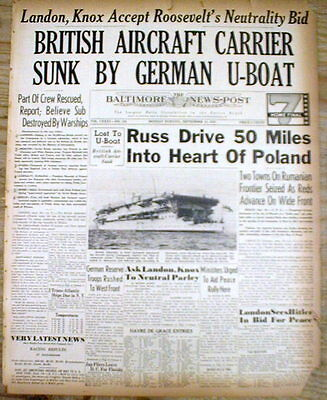 1939 WW II newspaper German submarine sinks British Aircraft Carrier COURAGEOUS