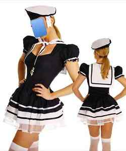 Sailor Captain Women's Sexy Navy Fancy Dress Halloween Costume Outfit HenLadies