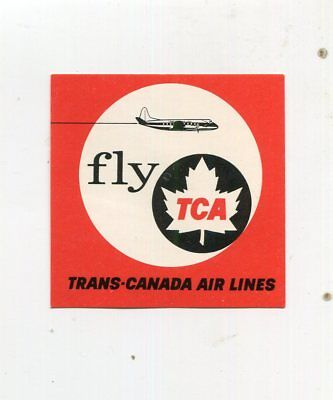 Vintage Airline Luggage Label Fly TCA TRANS-CANADA AIRLINES