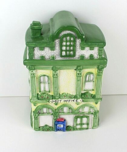 Vintage Collectible Ceramic Cookie Jar / Canister  -Town Post Office Building 9""