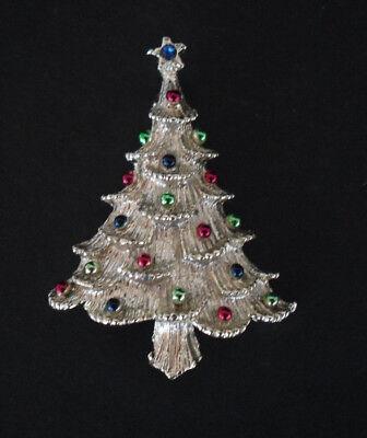 Vintage Gerrys Christmas Tree Pin Brooch Gold Tone Multi Color Enamel Rhinestone
