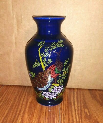"""Vintage Cobalt blue Vase With Peacock And Flowers Japanese Porcelain 6"""" x 3.5"""""""