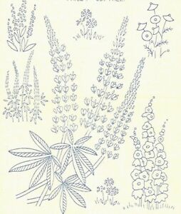 Vintage Visage iron on embroidery transfer 1930s style flowers,lupins 11 x 8