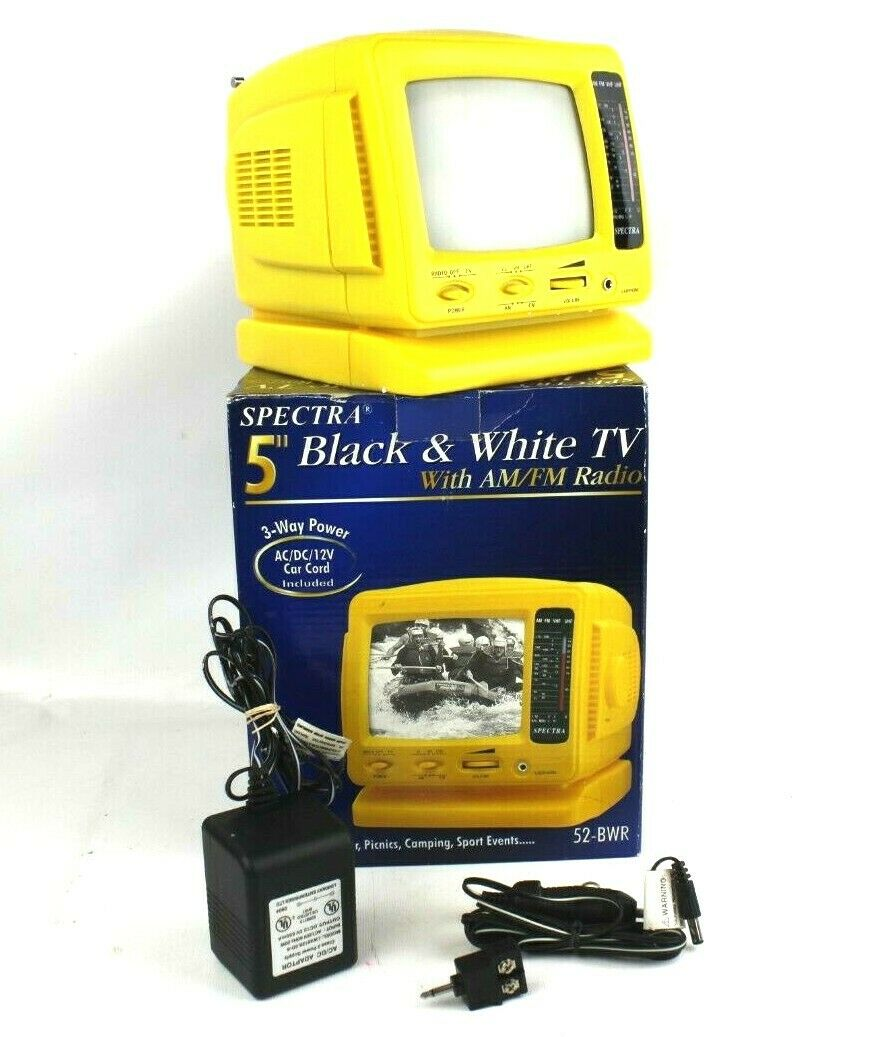 "Spectra 5"" Black & White TV with AM/FM Radio Yellow Excellent in Box Works"