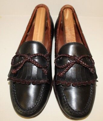 Allen Edmonds Mens Loafer Shoes Size 9.5 D Black Brown Leather Kiltie Moc Toe