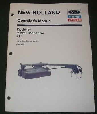 New Holland 411 Mower Conditioner Discbine Operation Maintenance Manual Book