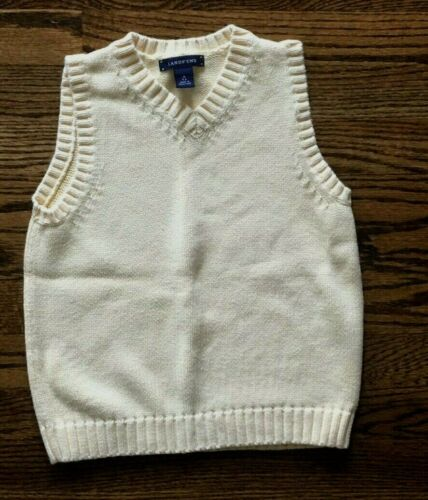 LANDS END BOYS M 5-6 YELLOW KNIT SWEATER VEST