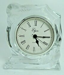ELGIN QUARTZ MANTLE DESK CLOCK  Clear Glass with Frosted Floral Pattern