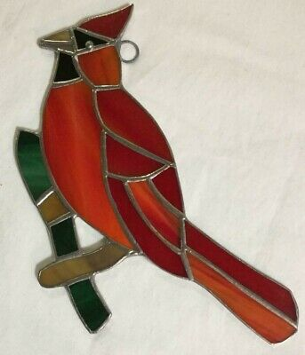 Handcrafted - Cardinal (Bird) Stained Glass - Sun Catcher - 7'' x 5'' ()