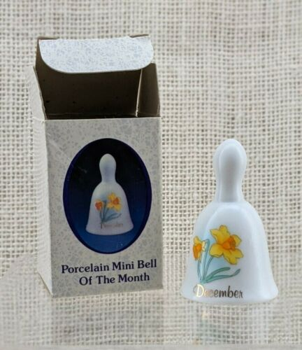 Russ Berrie and Company Porcelain December Mini-Bell #6250 - with Original Box