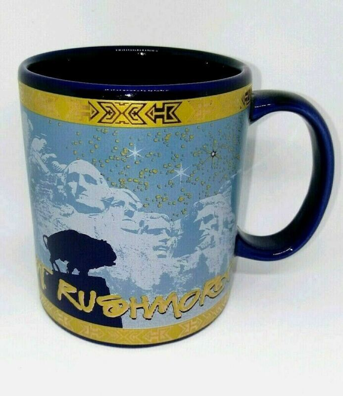 Mt Mount Rushmore Monument Coffee Cup Mug Blue Gold 4 Presidents