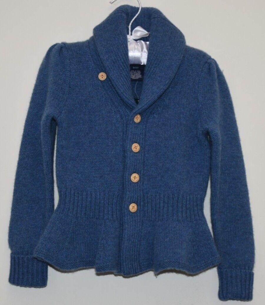 Nuovo Ralph Lauren Cardigan Bambine Lana Cashmere Blu Peplo Scialle Maglione 3 T