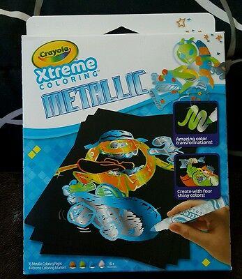 CRAYOLA XTREME COLORING METALLIC MINI SIZED~INCLUDES 16PGS&4 MARKERS~AGES - Crayola Metallic Markers