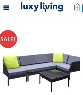 Stackable 6 pcs Black Wicker Rattan 5 Seater Outdoor Lounge Set – Grey