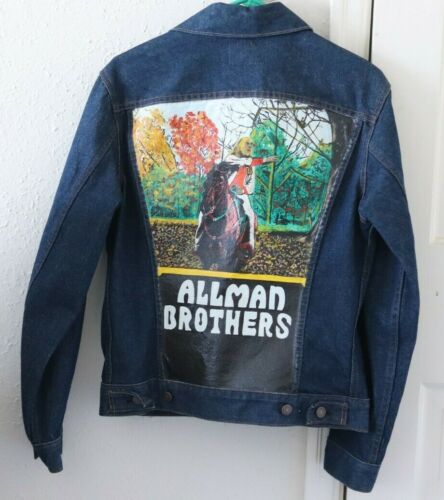 Vintage hand painted LEVIS jean jacket ALLMAN BROTHERS band bros size 36 Gregg