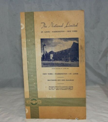 B & O The National Limited Pullman Beverage Menu Late 30