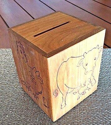 TOYSTALGIA VTG 1979 ToyStalgia Wooden Farm Animal Musicbox Piggy Bank