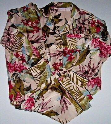 NWT Tommy Bahama Pink/Green/Blue TROPICAL FLORAL SILKY Satin Pajama Set L Ladies - Pink Satin Ladies