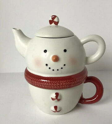 Vintage Hallmark Snowman Teapot Tea For 1 With Lid, Stack-able, Holiday