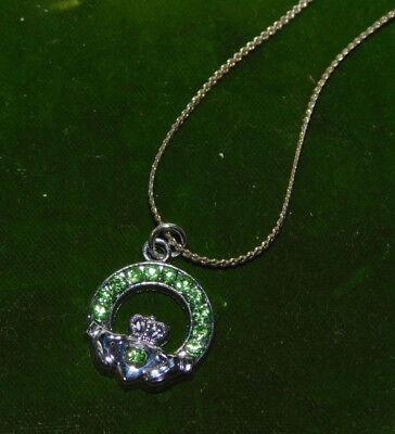 "Green Rhinestone Claddagh Pendant 20"" Silver Chain Necklace 2g 84"