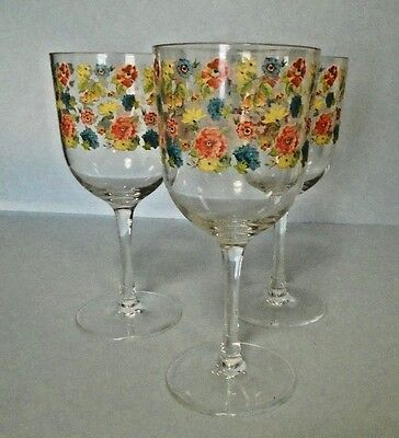 Lot Of 3 Plastic Flowered Stem Wine Glasses  8