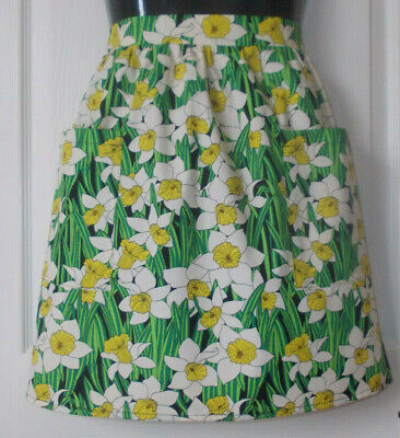 New 'Black / Floral Daffodil ' Vintage Style Waist Apron/Pinny 100% Cotton