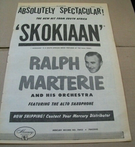Ralph Marterie and His Orchestra 1954 Ad- Skokiaan  Mercury