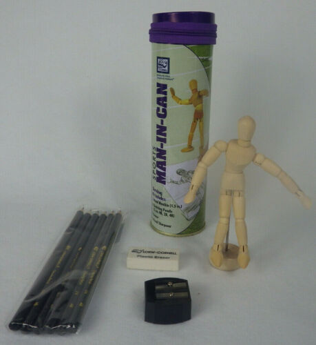 Artist Wooden Mannequin Articulated 5 inch Man in a Can with Pencils and More