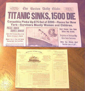 1912 Titanic Boston Daily Globe Newspaper Reprint + Copy of Third Class Ticket
