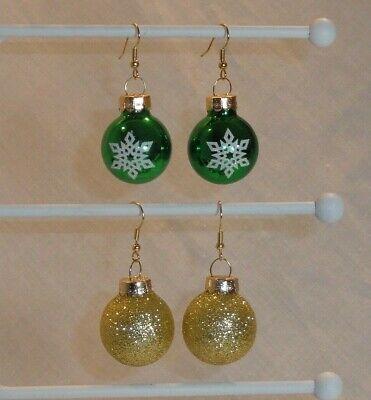 Shiny Green Snowflake or Gold Glitter Glass Ball Christmas Ornament Earrings Green Glitter Ball