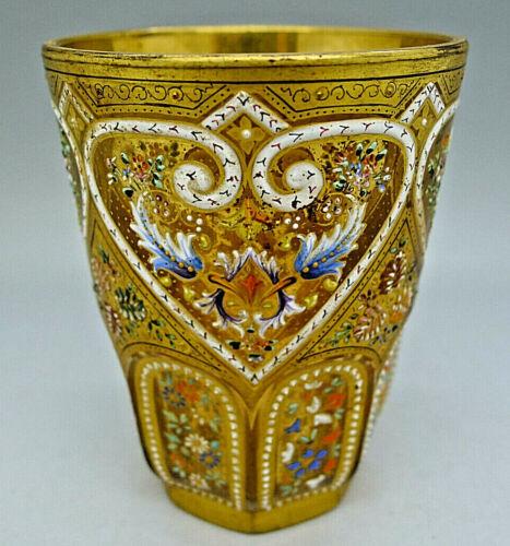 MOSER RARE ENAMEL HAND PAINTED JEWELED GOLD PORTRAIT GOBLET CUP SUPERB c.1880