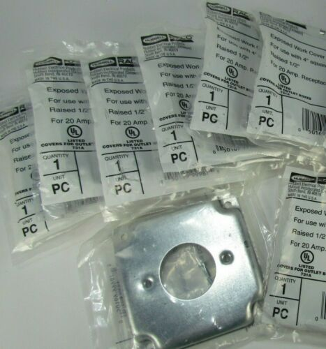 """LOT OF 8! HUBBELL RACO 812C 4"""" SQUARE EXPOSED WORK COVER FOR 20A RECEPTACLE"""