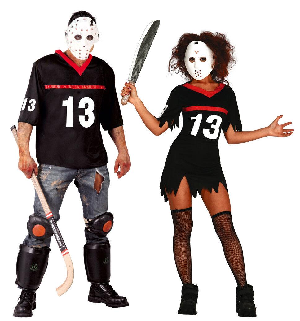 Adulto Viernes 13th Disfraz Hombre Mujer Parejas Disfraz de Halloween Ropa