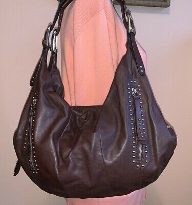 B. Makowsky Genuine Soft Leather Studded Hobo Handbag Shoulder Bag Dark Brown