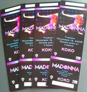 LOT OF 4  2005 11/15 MADONNA KOKO CLUB UNUSED TICKETS  FULL COLOR