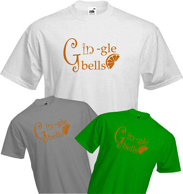 GINGLE BELLS - T Shirt, Xmas , Christmas , party , new year , office , gin - Gingle Bells