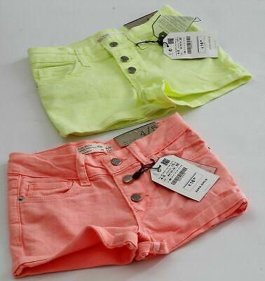 Zara moda 2x vaqueros cortos para niña rosa y verde talla 110cm...