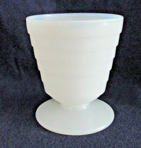 Hazel Atlas Moderntone Platonite White Conical Footed Juice Glass, 4 oz.