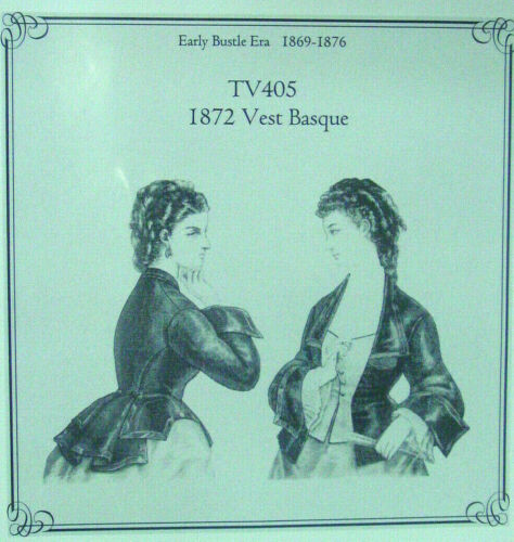Truly Victorian Sewing pattern for a Victorian womens 1872 Vest Basque top TV405