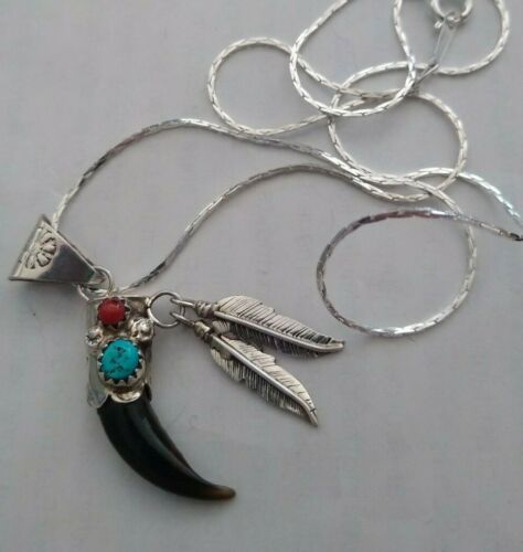 Sterling silver turquoise and red coral badger claw charm and sterling necklance