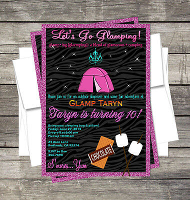 Slumber Party Invitation - Sleep over Glamping Invitation DIY slumber camping Birthday Party